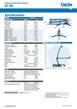 Подъемные платформы-прицепы с телескопически-шарнирной рукоятью Genie TZ50/30 DC
