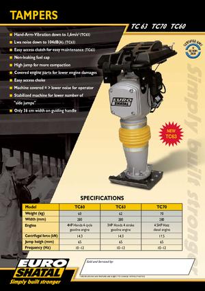 Вибротрамбовка с 4-тактным бензиновым двигателем Shatal TC 63